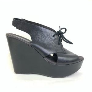 Kork Ease Black Platform lace up Peep Toe Sandal